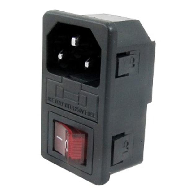 תקע חשמל IEC 10A לפנל עם פיוז ומפסק מואר MULTICOMP