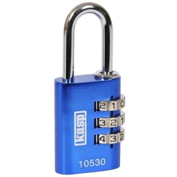 מנעול 3 ספרות (קומבינציה) - 30MM - כחול - KASP SECURITY KASP SECURITY