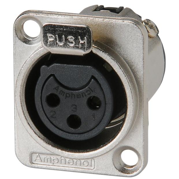 מחבר XLR נקבה להלחמה לפנל - 3 מגעים - AMPHENOL AC3FDZ AMPHENOL AUDIO