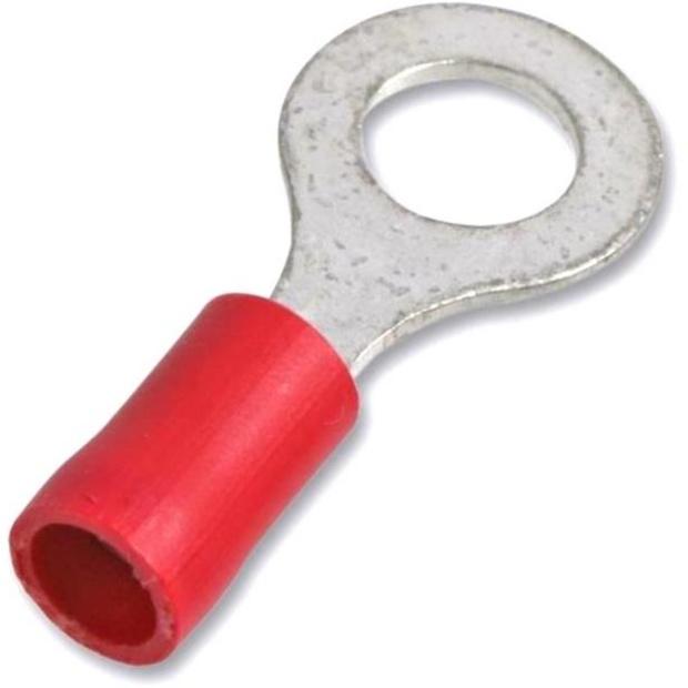 נעל כבל טבעת 4MM - אדום - 100 יחידות MULTICOMP