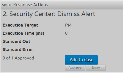 Once the investigation and response are complete, the analyst can approve a pending SmartResponse Automation action to dismiss the alert in Azure Security Center