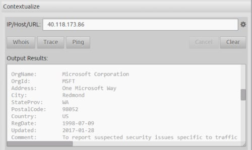 You can use the Web Console's Contextualize capability to quickly Whois the IP address to confirm whether it belongs to Microsoft