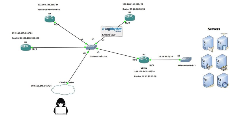 You can use NetMon in a single location to send OSPF LSA updates to all routers
