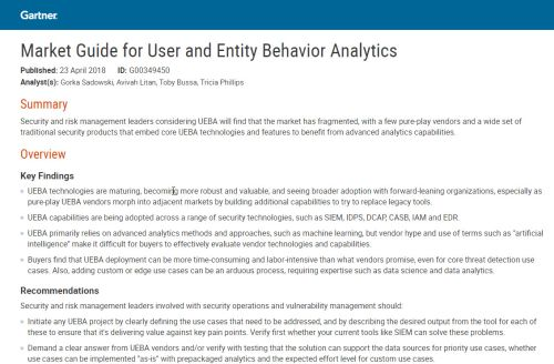 Gartner Market Guide for UEBA