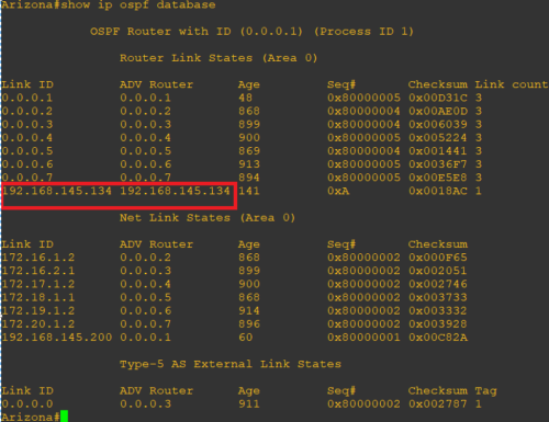 The OSPF database after a rogue device joins the network