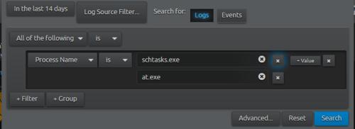 LogRhythm WebUI search for schtasks.exe processes
