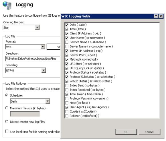 """Enable """"Time Taken"""" Function in IIS Logging"""