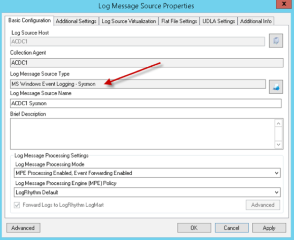 Log Message Source Properties Basic Configuration Window