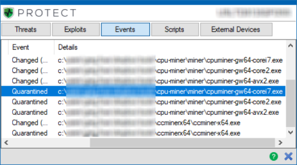 Cyclance Detects ccminer and cpuminer