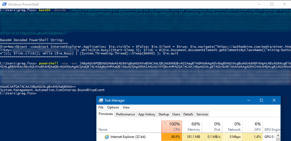 The Base64 Encoded PowerShell is Decoded