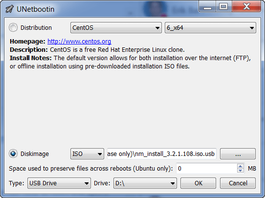 Unetbootin ISO to USB configuration image