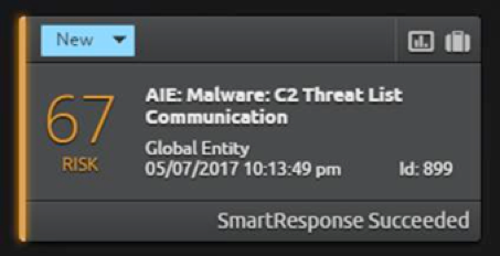 Figure 2:  SmartResponse Alerts and Executes Following an Internal Communication with a Known Threat List Host
