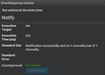 Automated analyst notification is delivered via Slack
