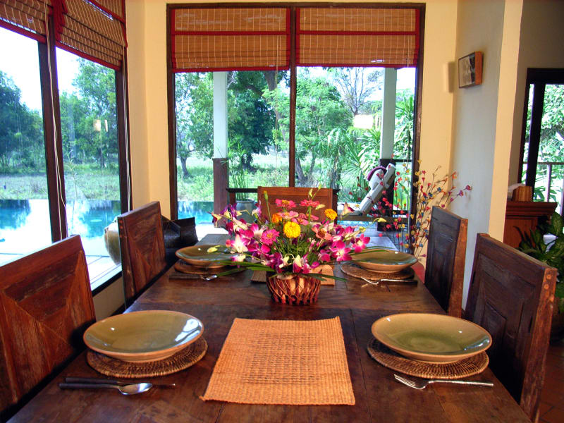Gecko Villa Private Villa in the Rice Paddies Udon Thani Thailand Dining area at Gecko Villa