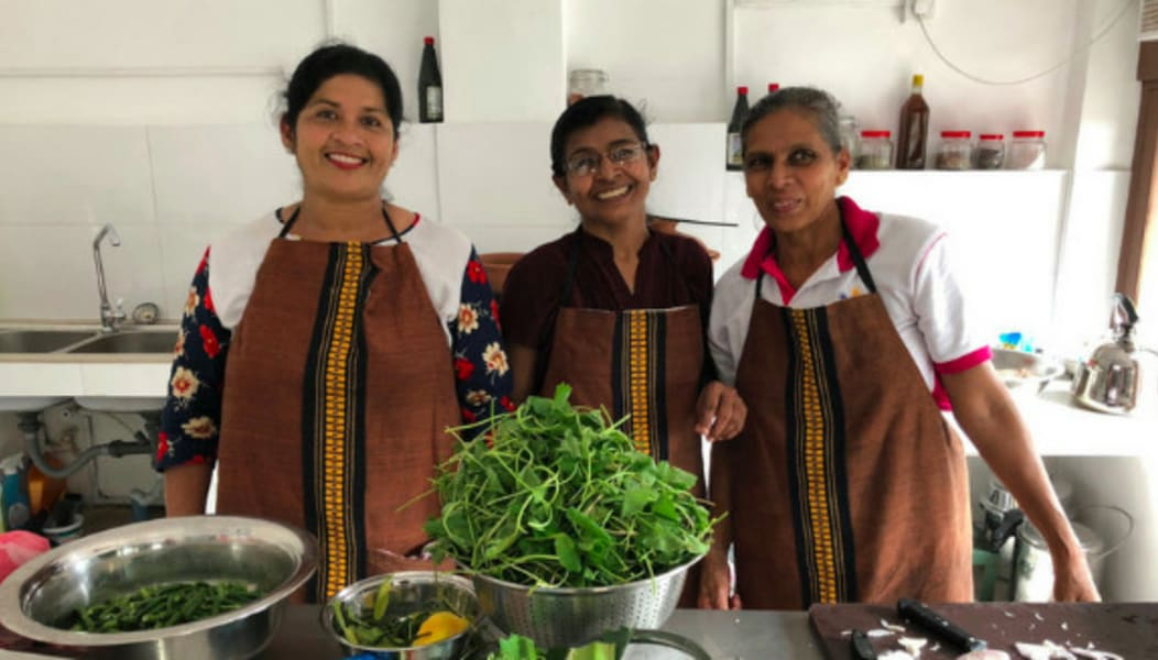 Sthree Cafe Cooking Curries with Local Sri Lankan Women Kandy Sri Lanka Your local hosts and instructors at Sthree Cafe