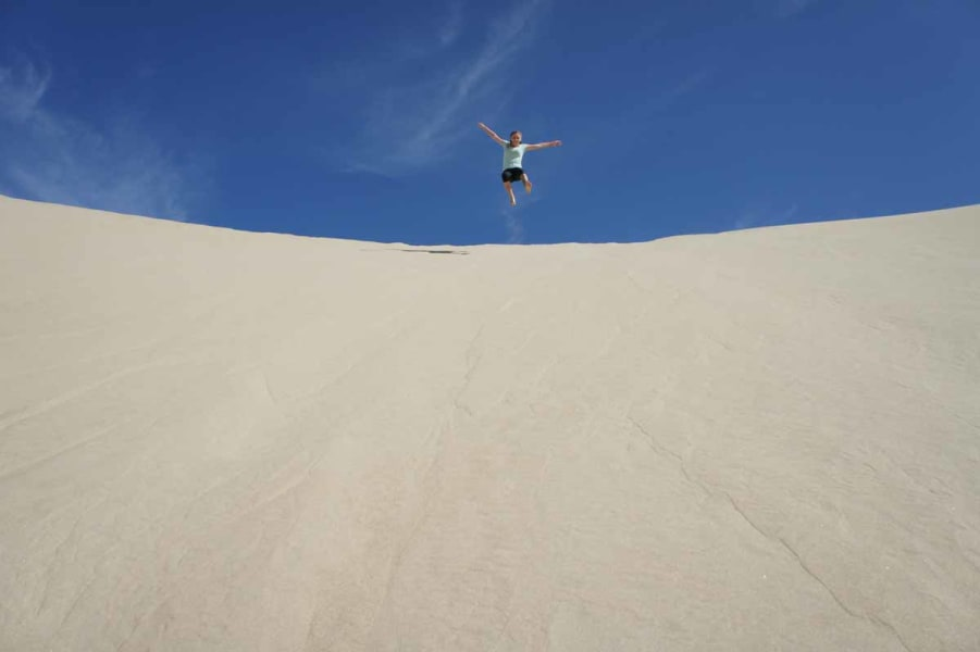 RED Travel Mexico Gray Whale and Sea Turtle Research Camp  La Paz Mexico Sand dune jumping