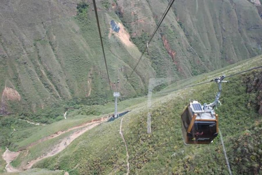 Eko Kuelap Lodge and Tours Nuevo Tingo Peru The cable car up to Kuelap