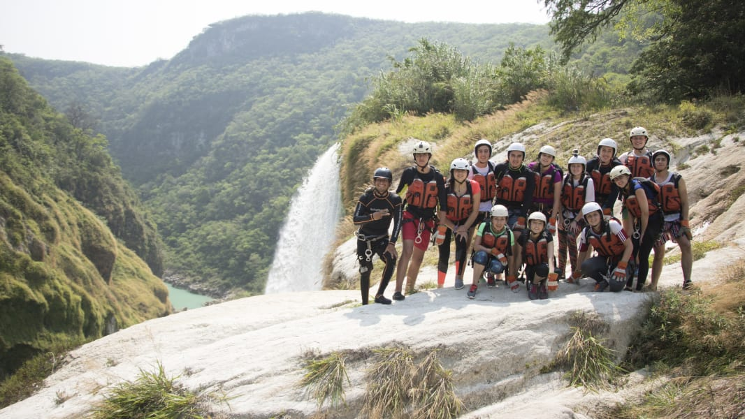 Ruta Huasteca  Tamul Waterfall Expedition Tamasopo Mexico The group enjoying their beautiful views at the top of the Tamul Waterfall.