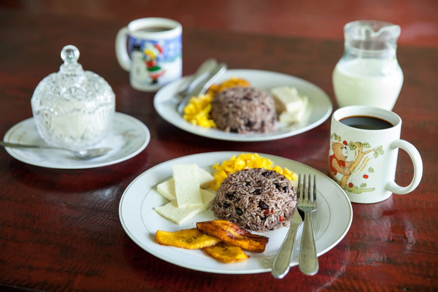 Lokal Adventures Test Adventure Los Planes Costa Rica Gallo pinto and eggs. A traditional and delicious Costa Rican breakfast.
