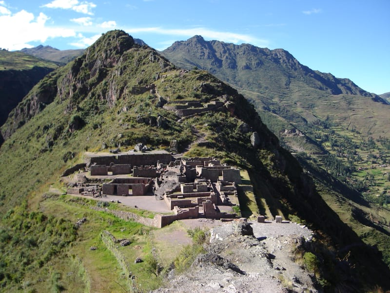 Cocla Tours Sacred Valley, Cacao/Coffee Farm, and Machu Picchu Tour Cusco Peru Panoramic view of Pisac and Inca ruins