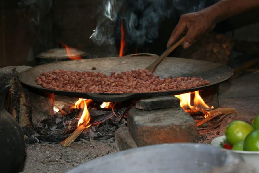 De la Gente Peanut Butter Workshop  San Miguel Escobar Guatemala Roasting peanuts