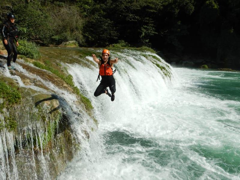Ruta Huasteca  Huasteca Potosina Rafting & Rappelling Adventure Ciudad Valles Mexico Jumping into the Cascada de Minas Waterfall!