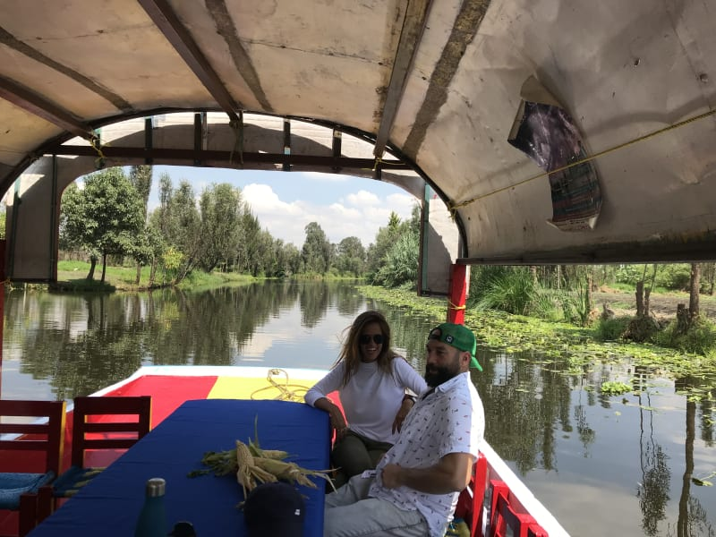 De la Chinampa Xochimilco Floating Gardens, Canals and Local Food Mexico City Mexico Floating on the canals in the trajinera (traditional boat)