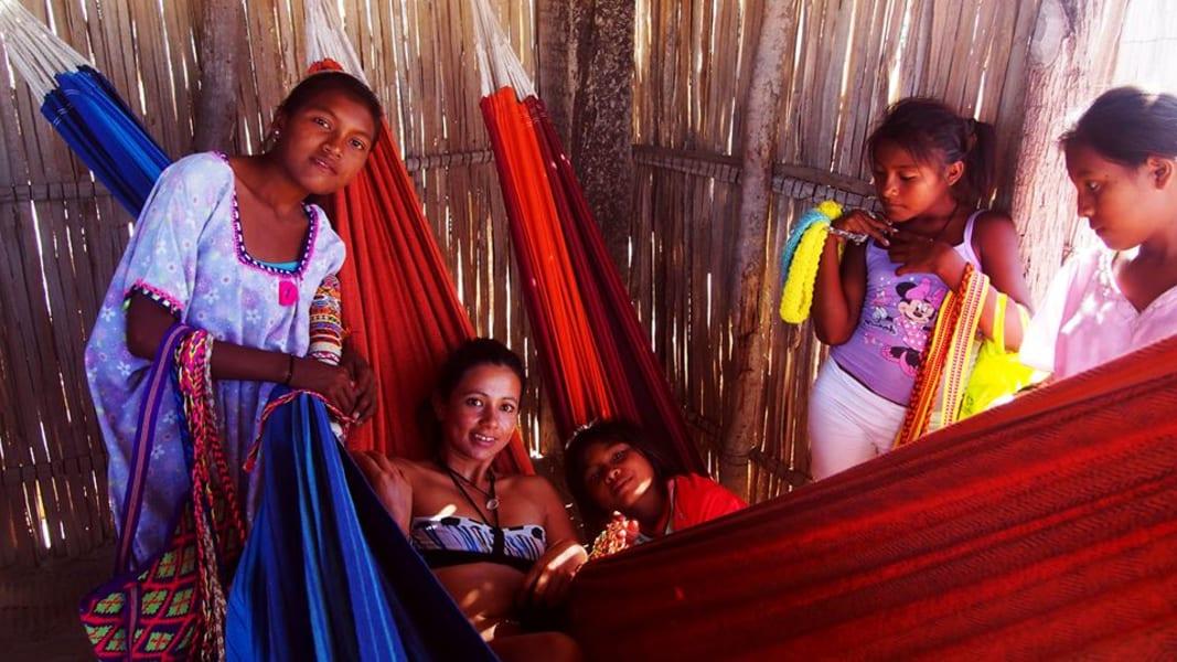 ZAIA Travel Wayuu Caribbean Experience Cartagena  Colombia Wayuu women at Rancheria Tocoromana.