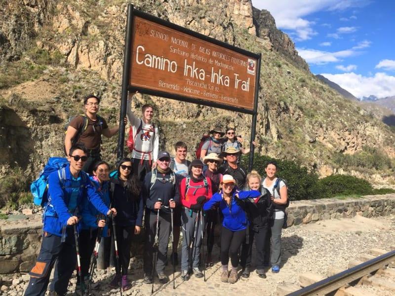 Alpaca Expeditions Classic Inca Trail Trek to Machu Picchu Cusco Peru Start of the trek