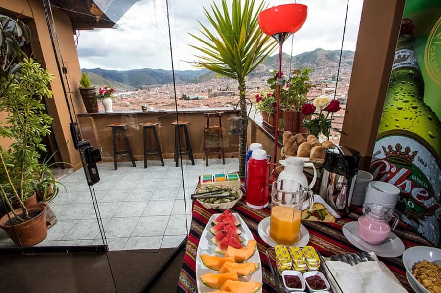 Hostal Wara Wara Cusco Cusco Peru Breakfast and the deck with views over Cusco