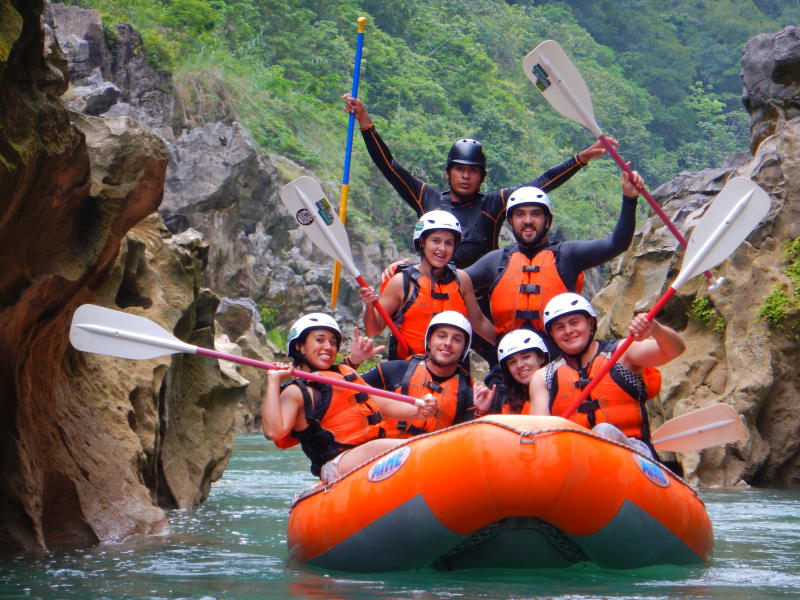 Ruta Huasteca  Huasteca Potosina Rafting & Rappelling Adventure Ciudad Valles Mexico The group enjoying their time white water rafting down the Tampaon River!