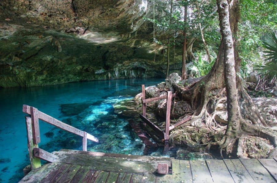 Sian Ka'an Community Tours Temaz Ka'an Mayan Sauna and Cenote Tulum Mexico Cenote in Dos Palmas