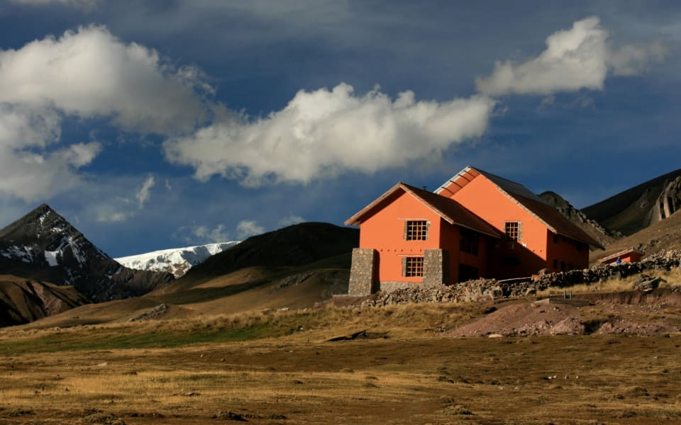 Andean Lodges Trek Lodge-to-Lodge to Apu Ausangate and Rainbow Mountain Cusco Peru The Chillca Lodge nestled in the Andean Highlands.