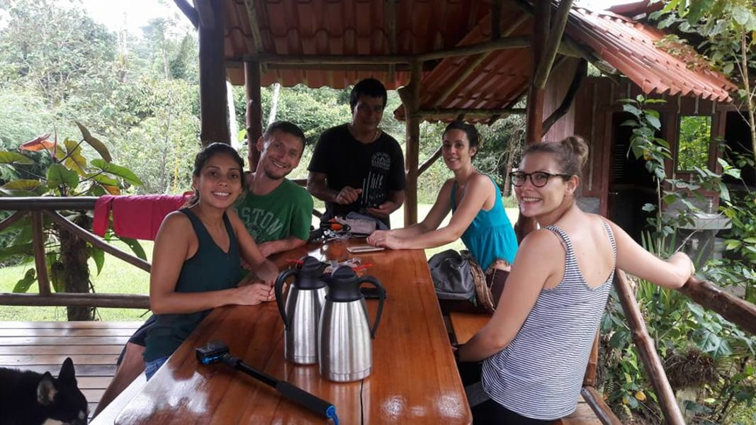 Lokal Adventures Jungle Yoga Adventure Los Planes Costa Rica Erik, the manager of Naguala with some guests during a coffee break