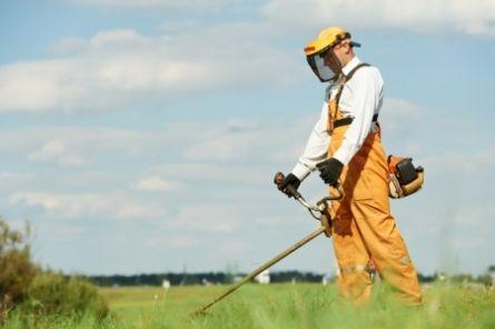 Bilde viser mann som jobber med hagearbeid.
