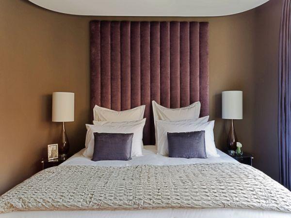 Purple Velvet Upholstered Headboard - London Headboards Shop UK