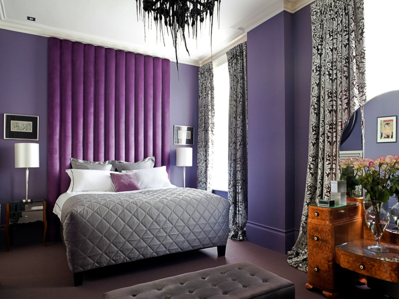 Purple Upholstered Headboard - High Quality Pattern Battersea
