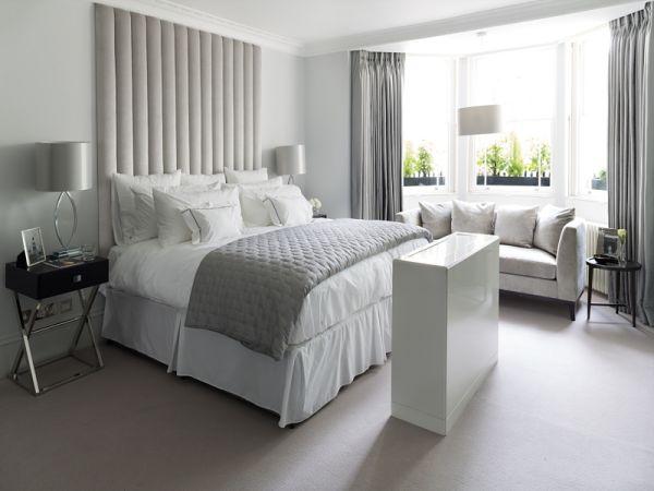 Silver Pleated Headboard - Modern Bedroom Upholstery Ideas 2018