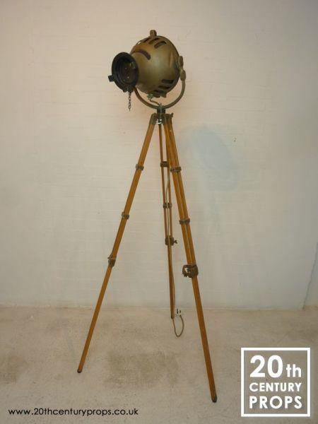 1: Vintage Theatre Spotlight on wooden tripod