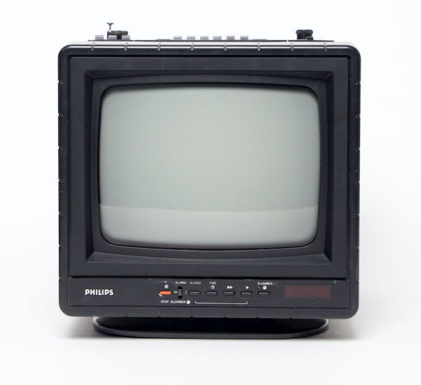 1: Fully working black & white mini portable Philips TV, Radio and Cassette Player