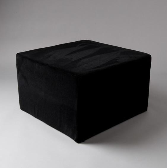 2: Large Black Velvet Square Pouf