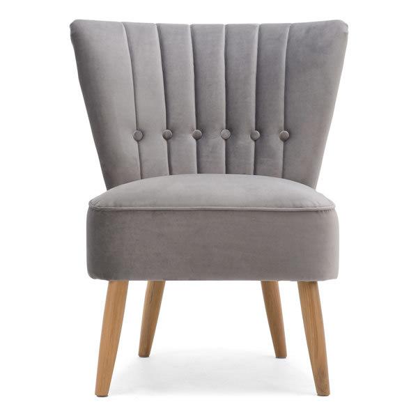 1: Velvet Cocktail Chair, Grey