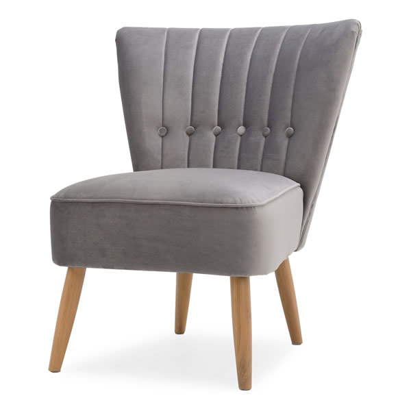 2: Velvet Cocktail Chair, Grey