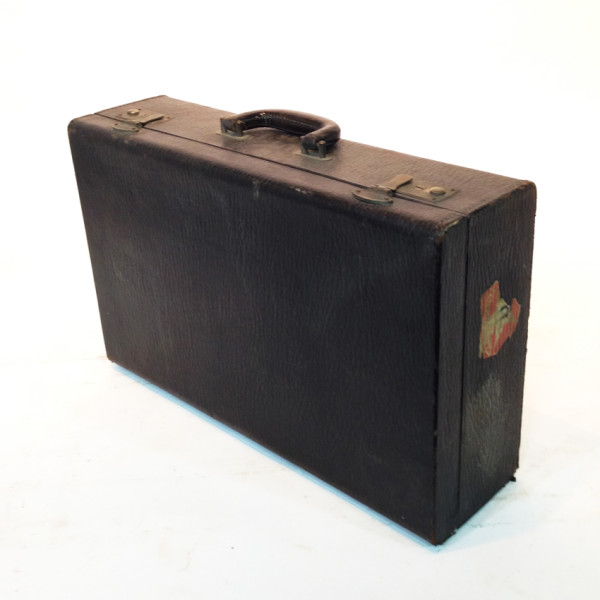 5: Grey Leather Suitcase