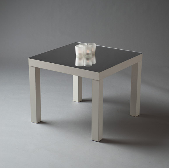 2: White Squared Mirror Top Table