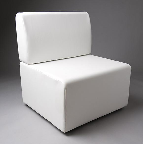 3: White Straight Back 70cm Length Modular Seat