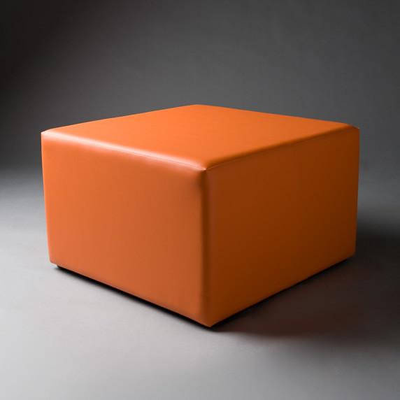 2: Large Orange Square Pouf