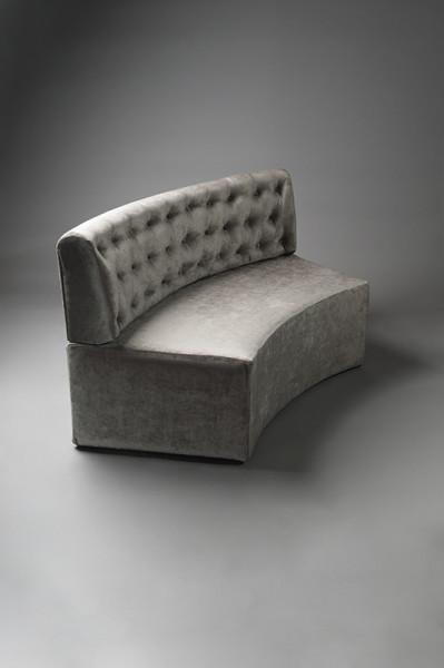 2: Curved Silver Velvet Modular Sofa