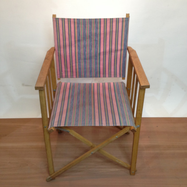 2: Pink and Blue Stripy Beach Chair