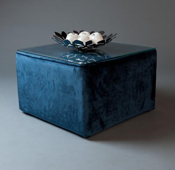 2: Blue Velvet Square Pouf Table